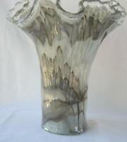 Genuine Italian Art Deco Glass Vase Gray Tammaro Italy Murano No 486