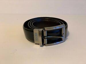 Kenneth Cole Leather Belt 38 Gunmetal Brushed Steel Buckle USA