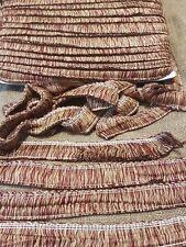 burgandy and gold cotton cushion ruche trimming fringe braid