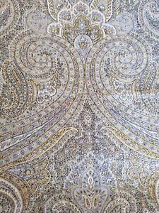De le Couna Duchess Wool-cotton reversible paisley grey gold 92x70cm RRP £250