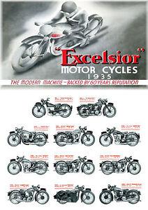 1935 Excelsior motorcycle range poster