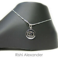 Tube Monogram Personalized Anklet 925 Sterling Silver Diamond-Cut