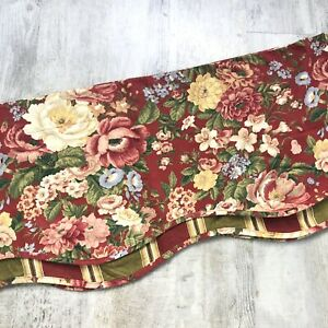 Waverly CARLOTTA CABERNET Valance Red Floral Rose Striped Scalloped Layered 72""