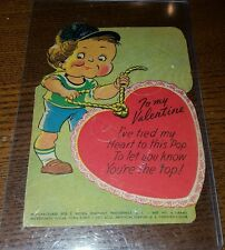 Vintage 1930-40s Little Boy E. Rosen Co. Valentine Candy Card Lollipop Holder