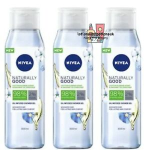 3 x Nivea Naturally Good COTTON FLOWER Oil Infused Shower Gel Body Wash 300ml