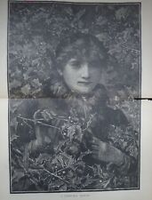 A CHRISTMAS MEMORY HARPERS ENGRAVED DOUBLE PRINT 1884 MISTLETOE HOLLY PORTRAIT