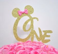 "Minnie Mouse Glitter ""ONE"" Cake Topper First Birthday Party Gold With Pink Bow"