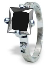 925 Sterling Silver Ring Size 6.5 Black Moissanite & Raw White Natural Diamond