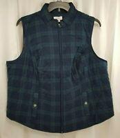 Croft & Barrow Women's Puffer Vest Size 2X Blue Green Plaid, New