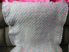 NEW Handmade Crochet Baby Blanket Afghan - pastel pink, blue, yellow