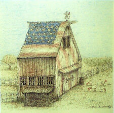 Art Greeting Card Picture Barn American Flag America Chicken Farm Drawing