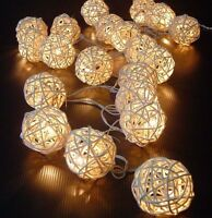 2.2M#20LED Warm White Rattan Ball LED String Christmas Wedding Party Fairy Light