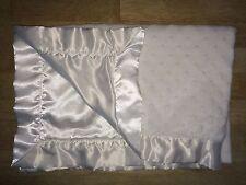Baby Starters Baby Blanket White Minky Dots Satin Trim Edge Back Backing 2013