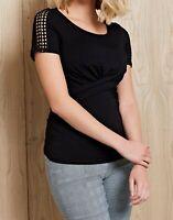 Bravissimo 8-18 CRC RSC Betsy Trim Black Twist Ruched Lace Smart Top blouse
