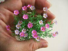Miniature handmade 24x lilac, pink cosmos flowers 1:12 dollshouse  garden shop