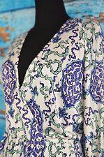 Nieves Lavi Dress Size 2 Silk Boho Plunge Neck Elastic Waist Boho Casual Summer