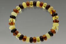 Button Shape Beads Genuine Baltic Amber Stretch Bracelet 9.5g b170607-15
