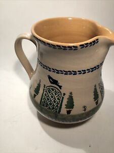 """Nicholas Mosse Pottery Pitcher Bird Topiary Trees ~ Made In Ireland 6.75"""""""