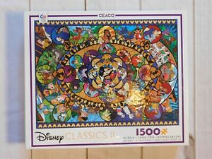 Disney Classics II Oval Stained Glass Jigsaw Puzzle 1500 Pieces / Ceaco