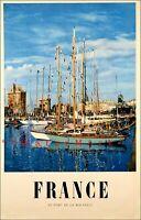 France Port De La Rochelle 1955 Vintage Poster Print Retro Style Travel Art