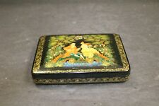 Russian Romance E. Zavarikhiva Lacquer Wooden Painted Hinged Box