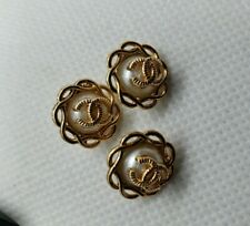 3 Chanel Buttons - Pearl with Gold 13 mm Cute small buttons