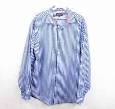 Ben Sherman Mens Large 16.5 34/35 Striped Button Dress Shirt Blue Cotton