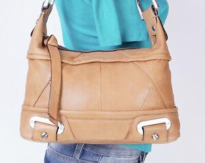 B. MAKOWSKY Medium Tan Leather Shoulder Hobo Tote Satchel Purse Bag