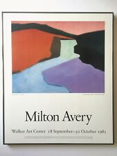 "MILTON AVERY RARE VTG 1983 LITHOGRAPH PRINT FRAMED POSTER ""RED ROCK FALLS"" 1947"