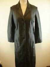 Womens XS Centigrade Black Leather Long Trench Coat Removable Liner Goth Matrix