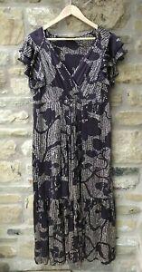 Ladies PRINCIPLES 100% Silk Floral Crossover Maxi Dress Size 14