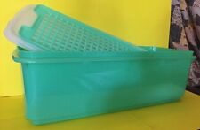 Tupperware Bread Celery Keeper Vtg 3 Pieces Green With White Lid Inside Drainer