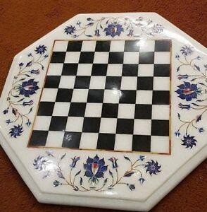"12"" marble chess Table Top  semi precious stones Inlay Decor"