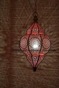 Gold & Red Moroccan Turkish Lamp Hanging Ceiling Light Fixture Oriental Lantern