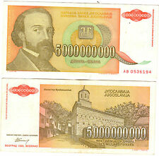 YUGOSLAVIA 5000000000 DINARA ~~ (circulated) XF -- lowest price