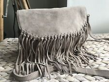Accessorize genuine suede tassel shoulder bag cross body bag