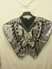 Vintage Black &silver 80s Top Sequwined size m.