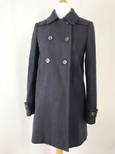Whistles Navy Blue Double Breasted Wool Peacoat Trench Coat UK Size 8 Pockets