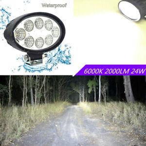 6000K Super Bright 2000LM 24W Oval LED Car Offroad Flood Working Light DC10-60V