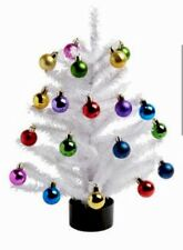 """Multi Colored Ornaments With Tree Xmas Decor 18"""" Red Blue Pink Silver Ornaments"""