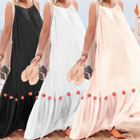 Women Sleeveless Kaftan Strap A Line Dress Long Maxi Dress Summer Party Dress