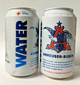 2 Cans - Anheuser-Busch Drinking Water - Red Cross 2021 - New
