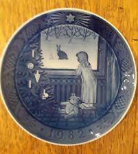 "Royal Copenhagen Blue Christmas Plate 1982 Waiting for Christmas 7"" Annual"