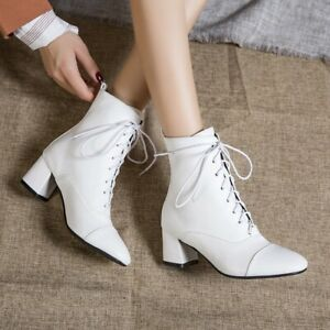 Plus SIze Ladies Ankle Boots Block Heels Lace up Casual Winter Warm Shoes UK New