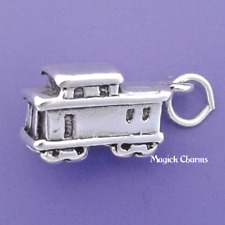 .925 Sterling Silver 3-D CABOOSE Train Charm Engine Pendant - lp1149