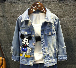 Jungen Kinder Baby Micky Maus Denim Jeans Hoodie Jacke Mantel Jeansjacke Coat