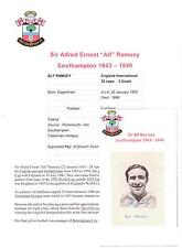 SIR ALF RAMSEY SOUTHAMPTON 1943-1949 RARE ORIGINAL HAND SIGNED PICTURE CUTTING