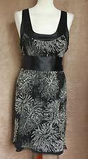 Black Silk Sleeveless Empire Line Mini Dress - Size 12 - Mistress