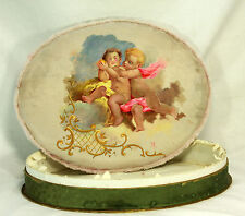 Antique French Hand Painted Silk Chocolate Confection Box for Maillards  c1920