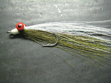 6 Clouser Minnows Olive / White # 1/0 Saltwater Fishing Flies lures Brookside